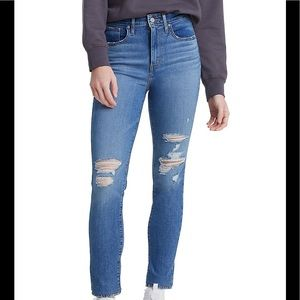 NWT Levi's 721 High-Rise Skinny Jeans DISTRESSED size 24s plus size